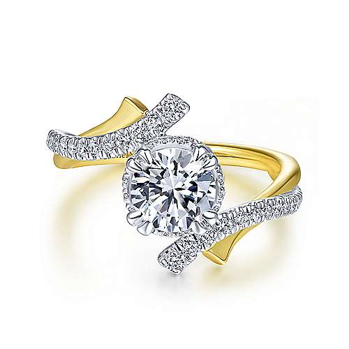 Gabriel - Jagger 14k Yellow And White Gold Round Bypass Engagement Ring