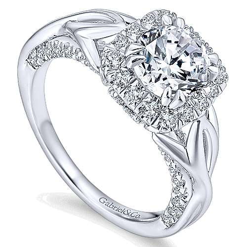 Jakarta 14k White Gold Round Halo Engagement Ring angle 3