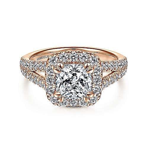 Gabriel - James 14k Rose Gold Cushion Cut Halo Engagement Ring
