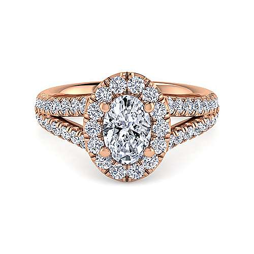 Gabriel - James 14k Rose Gold Oval Halo Engagement Ring