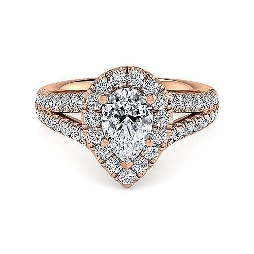 Gabriel - James 14k Rose Gold Pear Shape Halo Engagement Ring