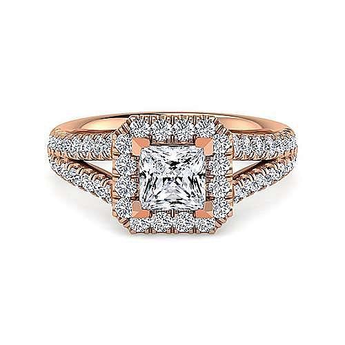 Gabriel - James 14k Rose Gold Princess Cut Halo Engagement Ring
