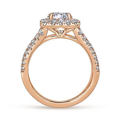 James 14k Rose Gold Round Halo Engagement Ring angle 2