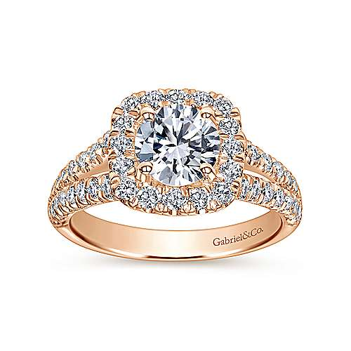 James 14k Rose Gold Round Halo Engagement Ring angle 5