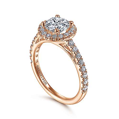 James 14k Rose Gold Round Halo Engagement Ring angle 3