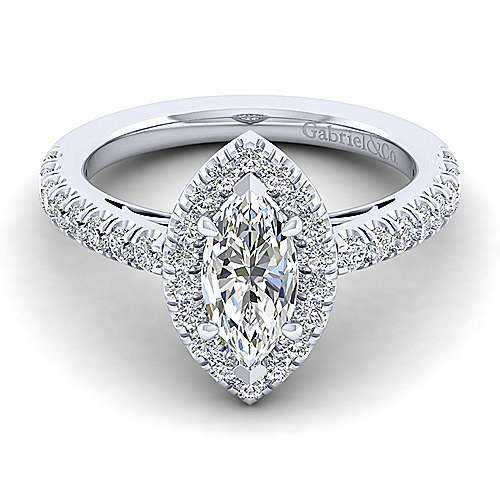 Gabriel - James 14k White Gold Marquise  Halo Engagement Ring