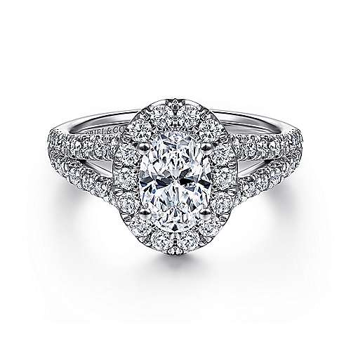 Gabriel - James 14k White Gold Oval Halo Engagement Ring