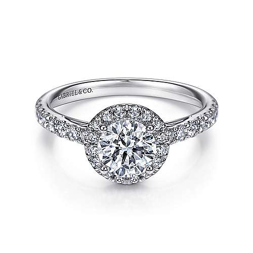James 14k White Gold Round Halo Engagement Ring angle 1