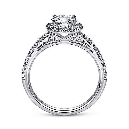 James 14k White Gold Round Halo Engagement Ring angle 2