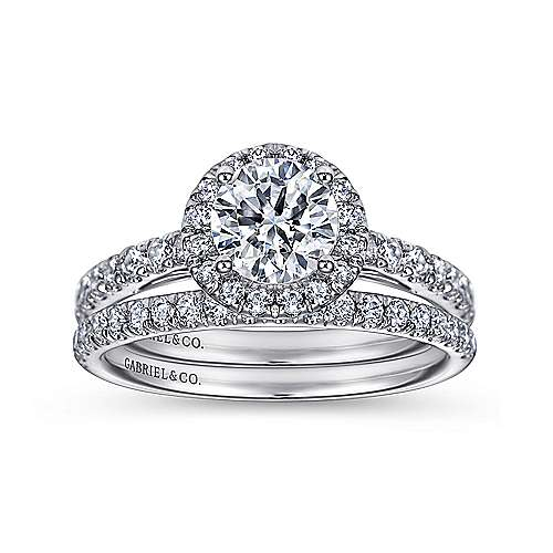 James 14k White Gold Round Halo Engagement Ring angle 4