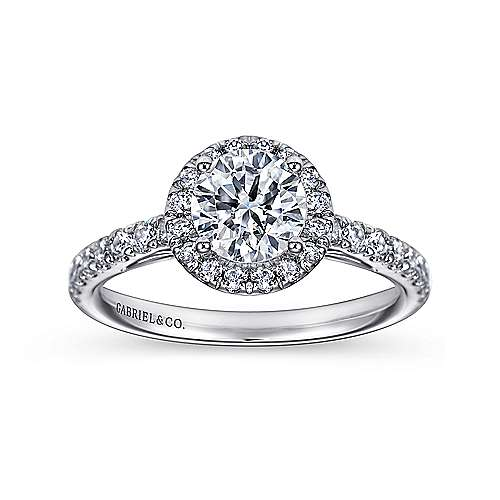 James 14k White Gold Round Halo Engagement Ring angle 5