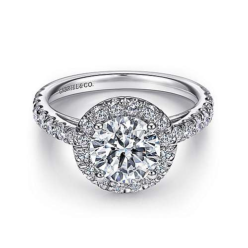 Gabriel - James 14k White Gold Round Halo Engagement Ring