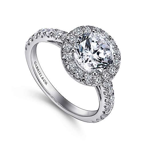 James 14k White Gold Round Halo Engagement Ring angle 3