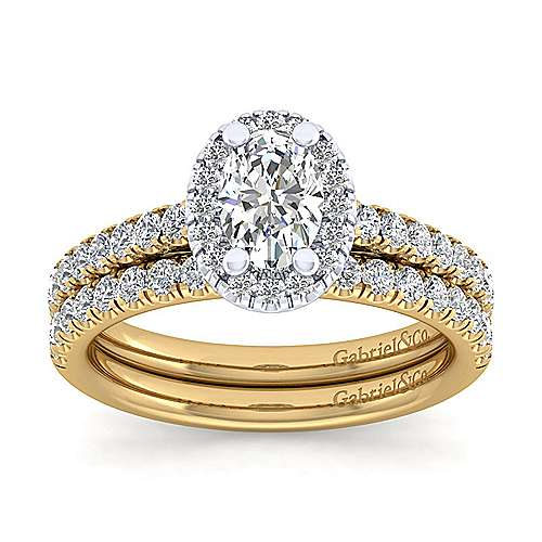James 14k Yellow And White Gold Oval Halo Engagement Ring angle 4