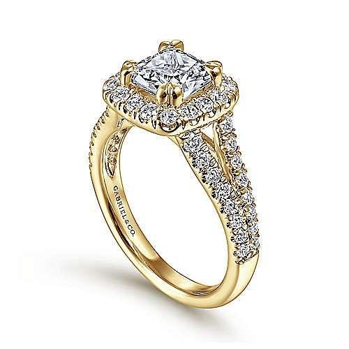 James 14k Yellow Gold Cushion Cut Halo Engagement Ring angle 3