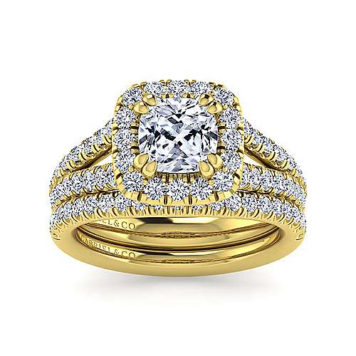 James 14k Yellow Gold Cushion Cut Halo Engagement Ring angle 4