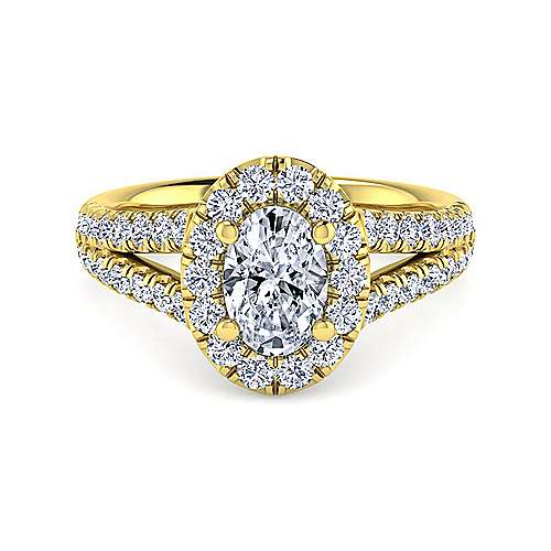 Gabriel - James 14k Yellow Gold Oval Halo Engagement Ring