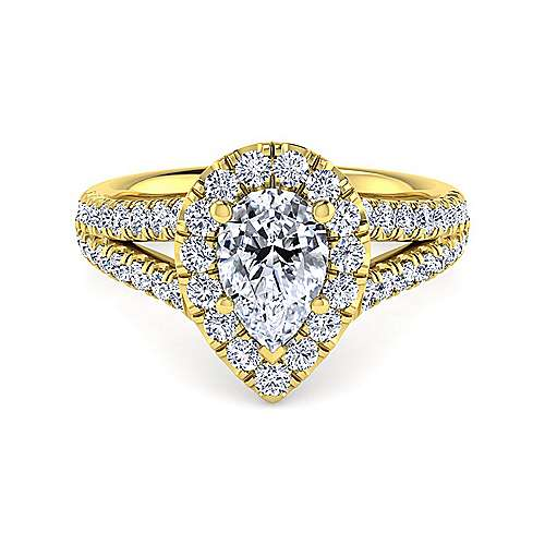 Gabriel - James 14k Yellow Gold Pear Shape Halo Engagement Ring