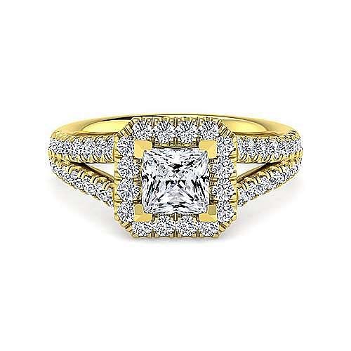 Gabriel - James 14k Yellow Gold Princess Cut Halo Engagement Ring