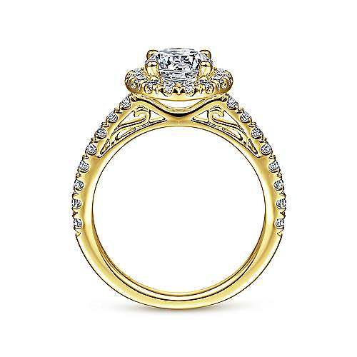 James 14k Yellow Gold Round Halo Engagement Ring angle 2