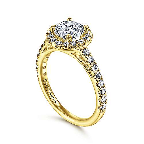 James 14k Yellow Gold Round Halo Engagement Ring angle 3