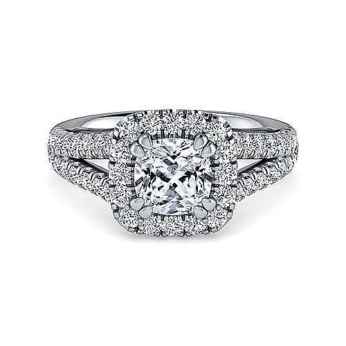 Gabriel - James Platinum Cushion Cut Halo Engagement Ring