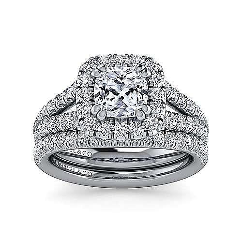 James Platinum Cushion Cut Halo Engagement Ring angle 4