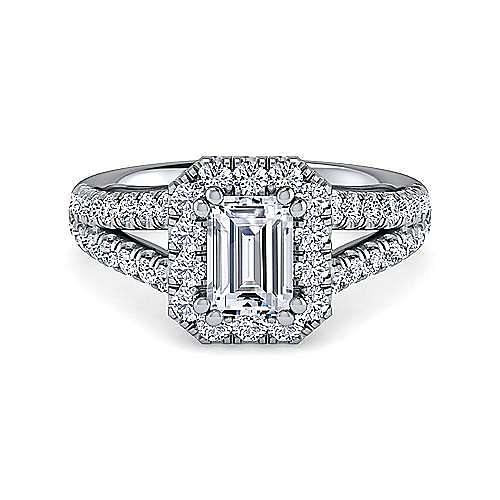 Gabriel - James Platinum Emerald Cut Halo Engagement Ring