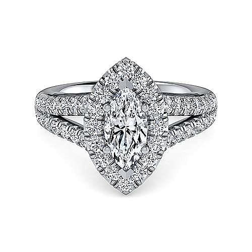 Gabriel - James Platinum Marquise  Halo Engagement Ring