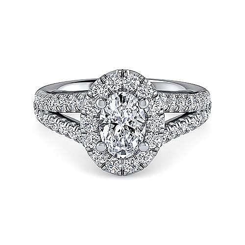 Gabriel - James Platinum Oval Halo Engagement Ring