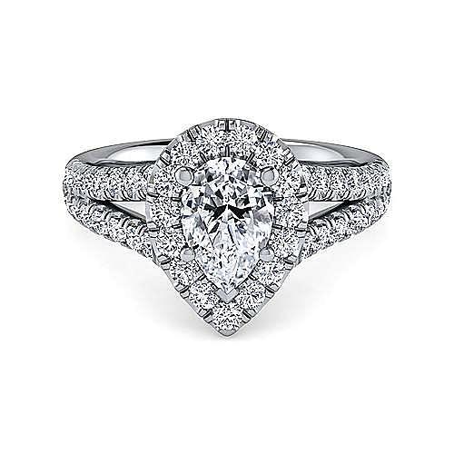 Gabriel - James Platinum Pear Shape Halo Engagement Ring