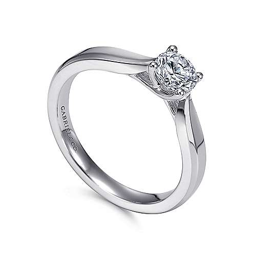 Jamie 14k White Gold Round Solitaire Engagement Ring angle 3
