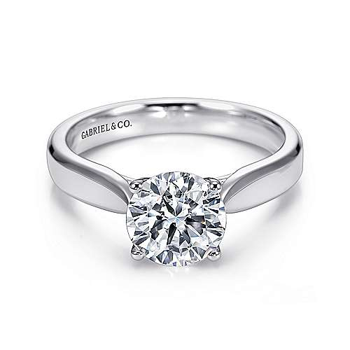 Jamie 14k White Gold Round Solitaire Engagement Ring angle 1