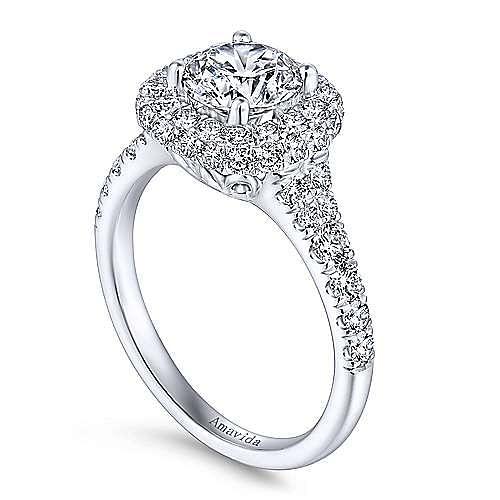 Janay 18k White Gold Round Double Halo Engagement Ring angle 3