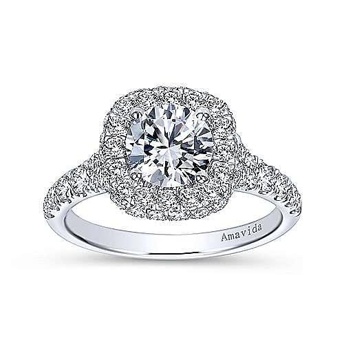 Janay 18k White Gold Round Double Halo Engagement Ring angle 5
