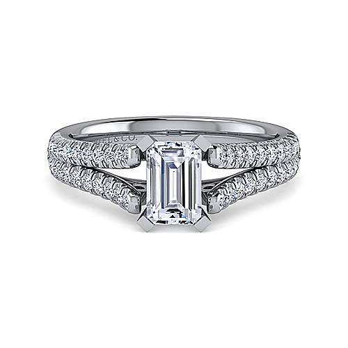 Janelle 14k White Gold Emerald Cut Split Shank Engagement Ring angle 1