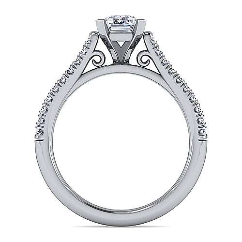 Janelle 14k White Gold Emerald Cut Split Shank Engagement Ring angle 2