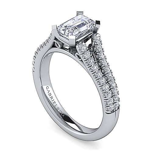 Janelle 14k White Gold Emerald Cut Split Shank Engagement Ring angle 3