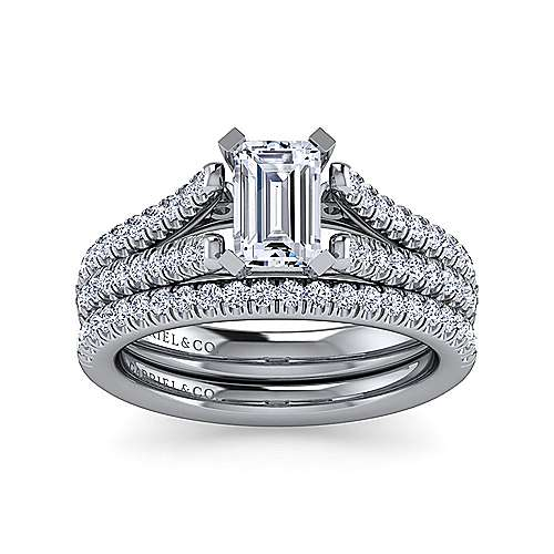 Janelle 14k White Gold Emerald Cut Split Shank Engagement Ring angle 4