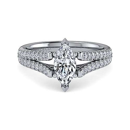 Gabriel - Janelle 14k White Gold Marquise  Split Shank Engagement Ring