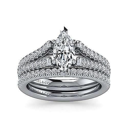 Janelle 14k White Gold Marquise  Split Shank Engagement Ring angle 4