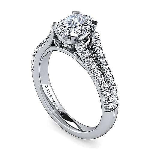Janelle 14k White Gold Oval Split Shank Engagement Ring angle 3