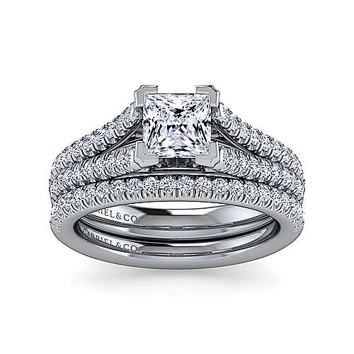 Janelle 14k White Gold Princess Cut Split Shank Engagement Ring angle 4