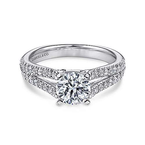 Gabriel - Janelle 14k White Gold Round Split Shank Engagement Ring