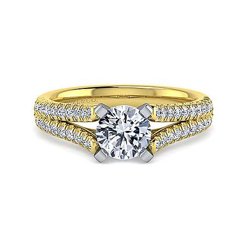 Gabriel - Janelle 14k Yellow And White Gold Round Split Shank Engagement Ring