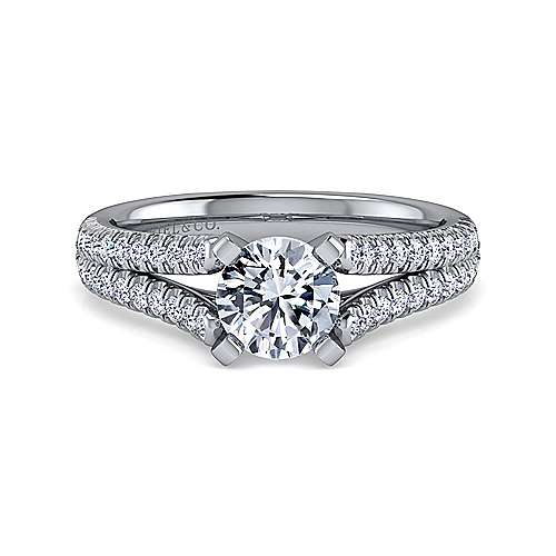 Gabriel - Janelle 18k White Gold Round Split Shank Engagement Ring