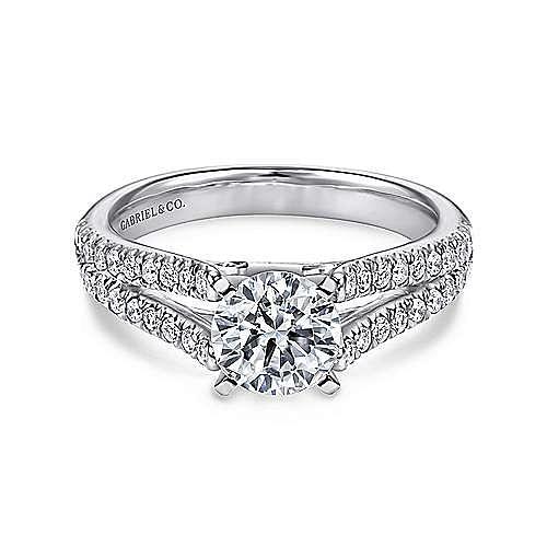 Gabriel - Janelle Platinum Round Split Shank Engagement Ring