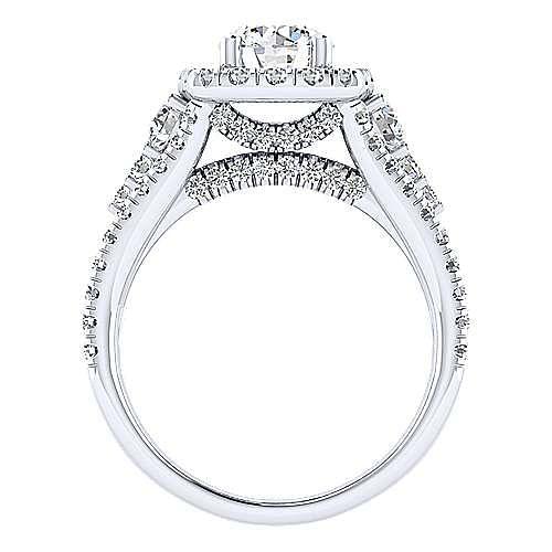 Janet 18k White Gold Round Halo Engagement Ring angle 2
