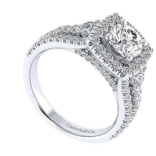 Janet 18k White Gold Round Halo Engagement Ring angle 3