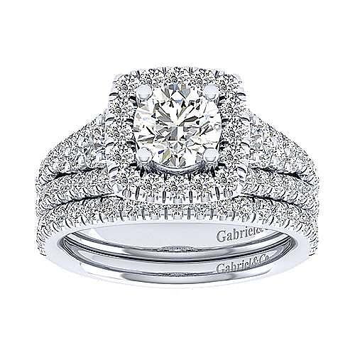 Janet 18k White Gold Round Halo Engagement Ring angle 4